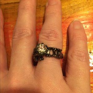 Jewelry - Skeleton King Moissanite / Sapphire Black Ring